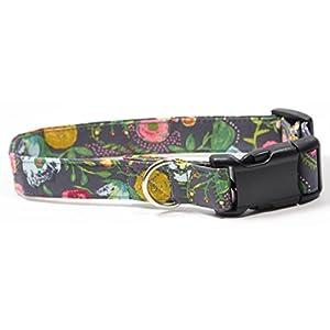 Rosey Posey, Designer Cotton Dog Collar, Adjustable Handmade Fabric Collars (M)