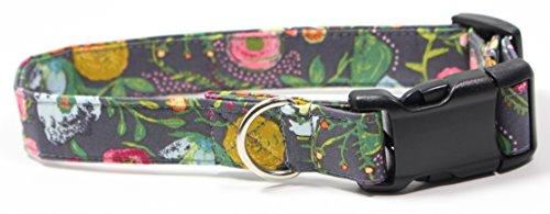 (Ruff Roxy Rosey Posey, Designer Cotton Dog Collar, Adjustable Handmade Fabric Collars (M), Grey, Pink, Yellow)