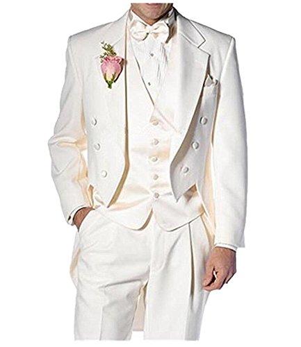 Botong Ivory Long Jacket Tailcoat Wedding Suit 3 Pieces Groom Tuxedos Ivory 42 chest / 36 (Notch Tuxedo Tailcoat)