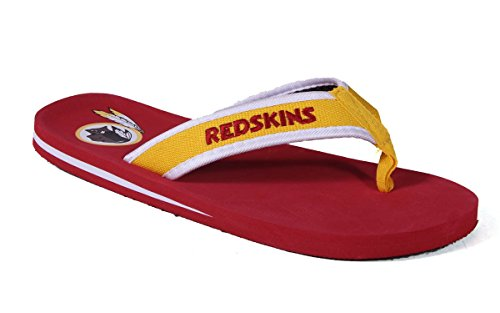 Forever Collectibles Officially Licensed NFL Contour Flip Flops - Happy Feet and Comfy Feet Washington Redskins Contours
