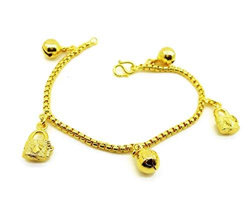 arrawana77 Love Heart Master Key Bell 23k 24k Thai Baht Jewelry Yellow Gold Plate Charm Bracelets 6.5 Inch
