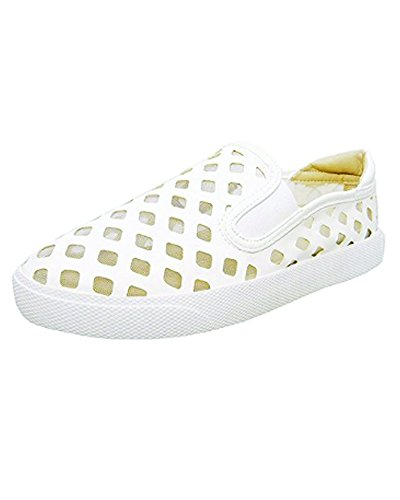 Wanted Pierre - White Laser Cut Slip-On Platform Sneaker White hrMYHYiav