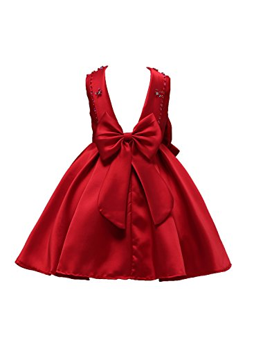 FKKFYY Big Girls pageant Dresses Princess Pageant Gowns Christmas Tea Length Girl Dresses Size 10 Red Bridesmaid 12-14 Sleeveless Party 2-10T Big Little Burgundy Flower Girl Dresses (Burgundy 140) Christmas Ball Gowns