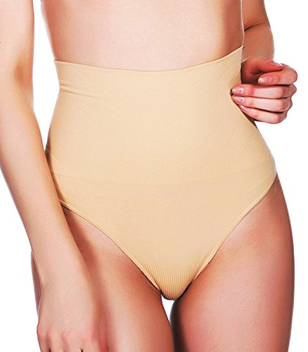 High Waist Cincher Trainer Thong Shapewear Body Shaper Underwear Girdles Panties for Women Tummy Control Slimmer (Beige, (Hi Waist Smoother)
