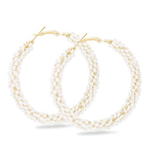 Big Beaded Hoop - Beaded Hoop Earrings for Women - Handmade Big Circle Beaded Earrings - Idea for Business, Wedding, Party or Daily Wear (Pure White)