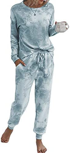 Lveberw Tie Dye Pajamas Set Women Lounge Sets 2 Piece, Long Pants Short Sleeves Tee, Sweatshirt, Sleepwear, Pjs