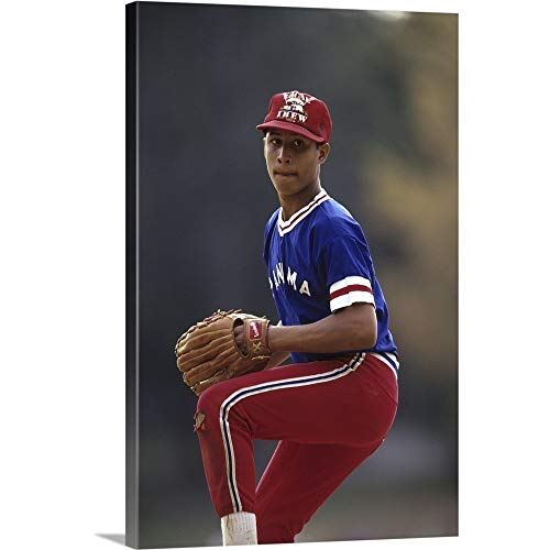 - Young Baseball Pitcher in Action Canvas Wall Art Print, 12