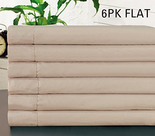 6-Pack FULL size, IVORY / BEIGE Solid Flat Bed Sheet-Super Silky Soft-SALE-High Thread Count Brushed Microfiber-1500 Series-Wrinkle, Fade, Stain Resistant, Deep Pockets (Flat Ivory Sheet)