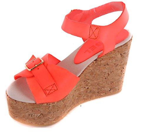 Diesel Sandalias Mujer Plataforma Cuña Zapatos De Tacón Naranja #45