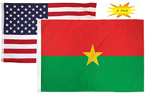 ALBATROS 2 ft x 3 ft 2inx3' Set (2 Pack) USA American with Burkina Faso Country Flag Banner for Home and Parades, Official Party, All Weather Indoors Outdoors