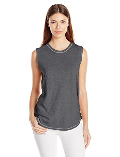 (Alternative Women's Washed Slub Inside Out Sleeveless Tee, Coal Pigment, S)