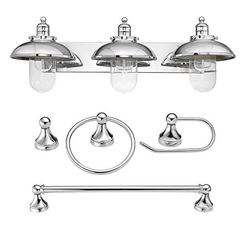 Globe Electric Freemont 5-Piece All-In-One Bathroom Set, Chrome, 3-Light Vanity with Clear Glass Shades, Towel Bar, Towel Ring, Robe Hook, Toilet Paper Holder 51244