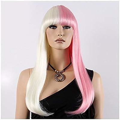 QYXJJ QLBF Pelucas Niñas Recta Larga sintética Mitad Blanca en Polvo, pelos de Cosplay de Las Mujeres del Pelo de Bob Peluca Wigcosplay (Color : Photo Color): Amazon.es: Hogar