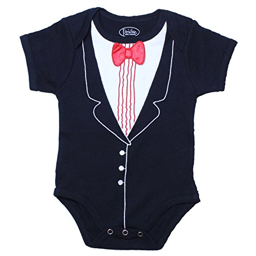 Frenchie Mini Couture Black Tuxedo Bodysuit with Red Bowtie, (6 Months) ()
