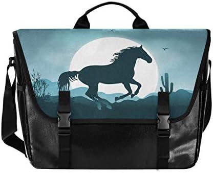 メッセンジャーバッグ メンズ 馬柄 月夜 斜めがけ 肩掛け カバン 大きめ キャンバス アウトドア 大容量 軽い おしゃれ