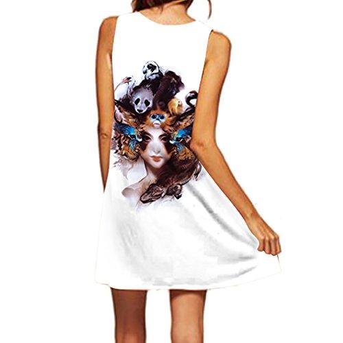 Honghu Mujer Vestido Mini Sin Mangas Impresión De Playas Para Verano Blanco