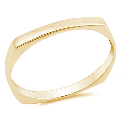 - Yellow Gold-Tone Squared Cigar Stackable Ring Sterling Silver Band Size 9