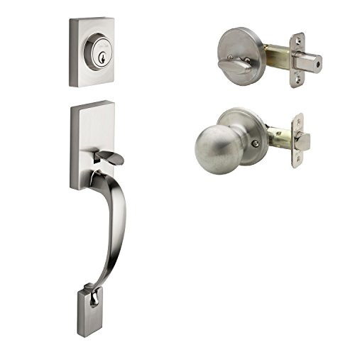 Copper Creek FZ2610XBK-SS Front Door Handle Set, Satin Stainless
