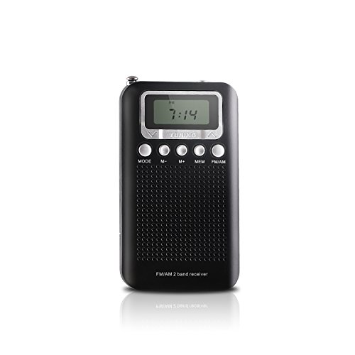 AM FM Portable Pocket Transistor Radio, Battery Operated Digital Alarm Clock Radio with 3.5mm Headphone Jack, Stereo Mode, Memory Mode and Sleep Timer