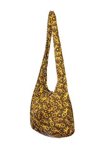 Cotton Bohemian Bag Brown Sling Print Gecko Avarada Thai Purse Messenger Hobo Hippie Crossbody qwgBF5