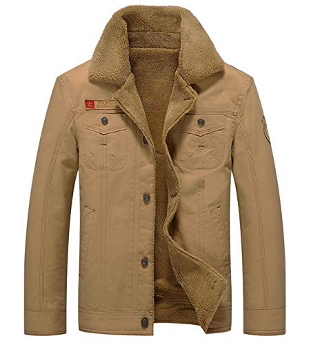 Fuwenni Men's Sherpa Fleece Lined Corduroy Trucker Jacket Winter Coat Military Cargo Jacket Parka Khaki XL