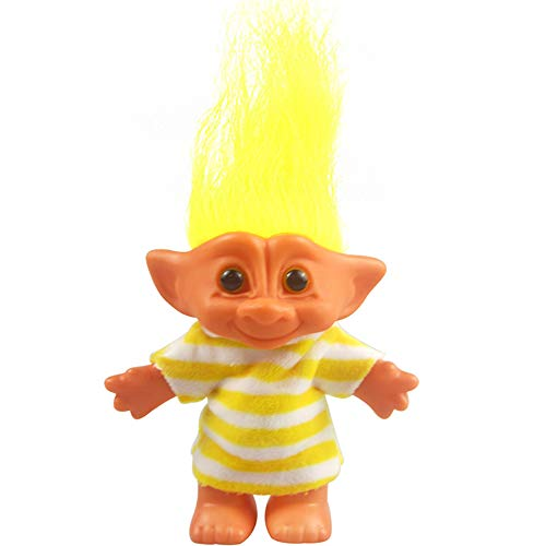 Yintlilocn Lucky Troll Dolls,Vintage Troll Dolls Chromatic Adorable for Collections, School Project, Arts and Crafts, Party Favors - 7.5 Tall Yellow(Include The Length of Hair)