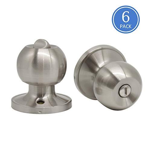 (6 Pack Interior Door Knobs-Privacy Door Handle Set, Used for Bedroom Bathroom Doors-Brushed Nickel Door Knobs with Removable Plate)
