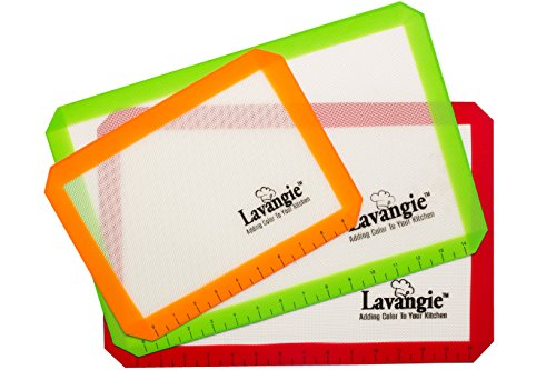 Silicone Baking Mat Set - Professional Heat-Resistant Non Stick Mats & Liners for Cookie Sheets by Lavangie™ (3 color pack) (Silicone Baking Sheet Liners compare prices)