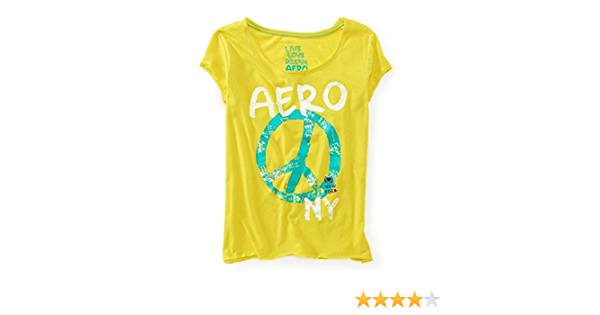 Aeropostale Womens Glitter Peace Sign Pajama Sleep T-shirt 826 XS