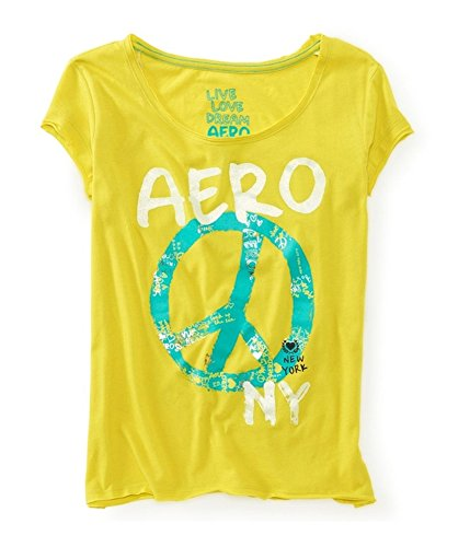 Aeropostale Womens Glitter Peace Sign Pajama Sleep T-Shirt Yellow L - ()