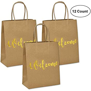Amazoncom 24 Welcome Kraft Paper Wedding Gift Bags For Hotel