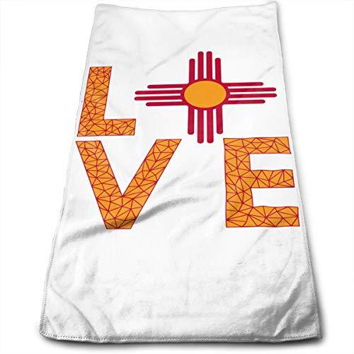 (HFXFM New Mexico Flag Love USA Multipurpose Soft Polyester Lightweight Hand Towel for Bath, Pool, Beach, Travel Towel,Bath Sheet, 30cm X 70cm)