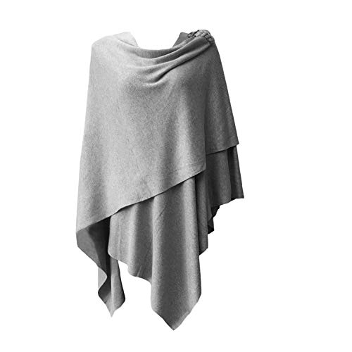 Womens Extra Large Poncho Sweater Cross Front with Grey Button Closure Wrap Topper - Sweater Cashmere Wrap