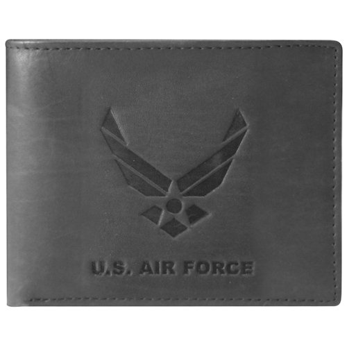(US Armed Forces Collection Mens Genuine Leather Wallets - Gift Boxed Bi-Fold and Tri-Fold Leather Wallets (US Airforce Bi-Fold, Black) )