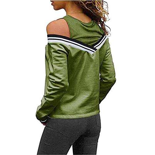 ThusFar Womens Off Shoulder Layered Look Long Sleeve T Shirts Blouses XX-Large Green