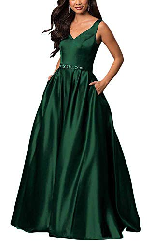 yinyyinhs Women's V Neck Prom Dresses A Line Long Beaded Evening Formal Gowns with Pockets Size 2 ()