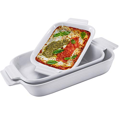 Hompiks Baking Dish Casserole Dish Porcelain Baking Dishes for the Oven Bakeware Set of 3 for Lasagna Kitchen White 11…