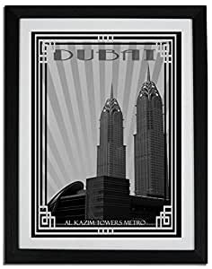 Al Kazim Towers Metro - Black And White With Silver Border F06-nm (a5) - Framed