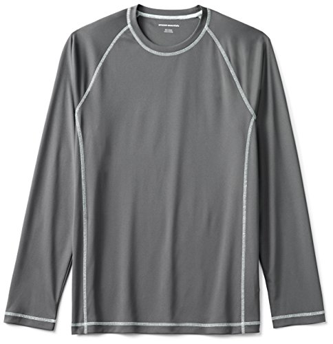 Amazon Essentials Men's Long-Sleeve Quick-Dry UPF 50 Swim Tee, Charcoal, Large by Amazon Essentials