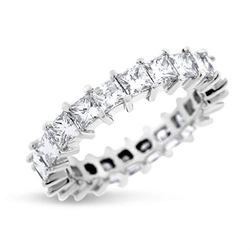 4.00 Ct. Natural Diamond Princess Cut Eternity Band in Solid Platinum