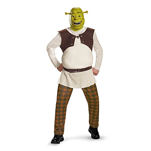 Shrek Costumes (Disguise Men's Shrek Deluxe Adult Costume, Green, XX-Large)