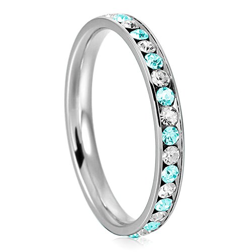 (3mm Stainless Steel Teal Aquamarine Color & White Crystal Channel Eternity Wedding Band Stackable Ring, Size)
