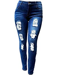 SL 1826 Womens Plus Size Stretch Distressed Ripped Blue...