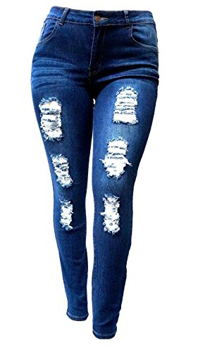 SL-1826-WOMENS-PLUS-SIZE-Stretch-Distressed-Ripped-BLUE-SKINNY-DENIM-JEANS-PANTS