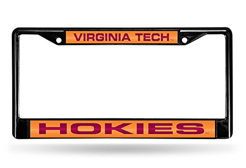 Rico Industries NCAA Virginia Tech Hokies Laser Cut Inlaid Standard Chrome License Plate Frame, Black
