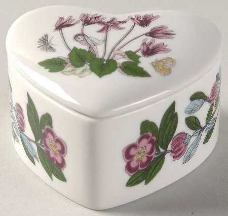 Portmeirion Botanic Garden 4 Inch Mini Heart Treasure Box with Lid
