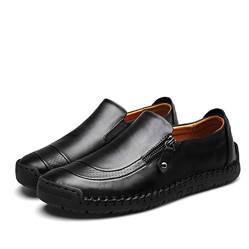 (Mens Driving Casual Shoes Zipper Slip On Loafers Light-Weight Soft Comfortable Oxford Walking Shoes Black)