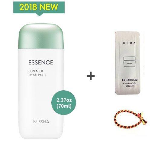 2018 NEW MISSHA All Around Safe Block Essence Sun Milk SPF50+/PA+++2.37oz(70ml) + Sample 1