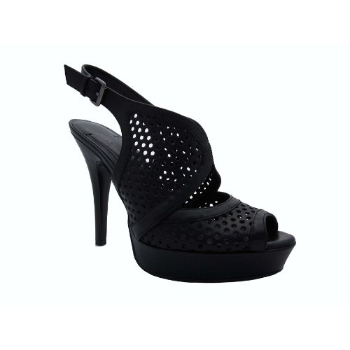 BCBGirls Women's Bg-Alana Sandal,Black Calf,9 M - High Bcbgirls Pumps Heel
