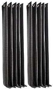 "Tejido negro plata gris 65""x 54forrado Anillo Superior Cortinas & 2x fundas de cojín"